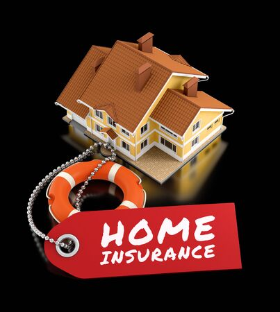 Photo for Home Insurance. Illustration on the subject of 'Real Estate Insurance'. 3D rendering graphics on reflective black background. - Royalty Free Image