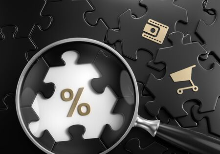Photo pour Discount Search. Close-up composition of magnifying glass focusing on percent symbol surrounded by black colored jigsaw puzzle assembled from hexagonal parts. 3d rendering graphics. - image libre de droit