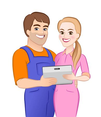 Illustration for Happy Young Couple. Cartoon young male and female characters which are standing together and hugging close to each other, holding computer tablet and looking directly at us. - Royalty Free Image