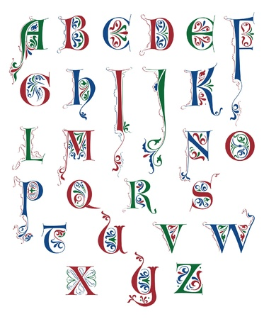 Alphabet in Medieval calligraphic style isolated on white