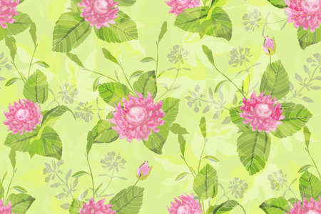 Illustration pour Art floral vector seamless pattern. Beautiful vector pink flowers with green stems and leaves on a bright green background. - image libre de droit