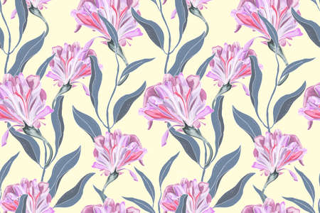Illustration pour Art floral vector seamless pattern. Delicate pink Ipomoea morning glory isolated on pastel yellow background. Curly flowers with green leaves. For fabric, home and kitchen textile, wallpaper design. - image libre de droit