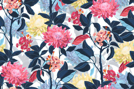 Illustration pour Art floral vector seamless pattern. Pink, yellow, blue flowers isolated on white background. Deep blue leaves, light blue transparent overlays leaves. For fabric, home and kitchen textile, paper. - image libre de droit