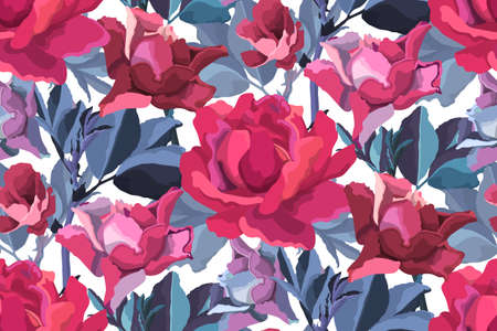Illustration pour Vector floral seamless pattern. Pink, burgundy, maroon, purple garden roses, blue branches with leaves isolated on white. Flowers background. - image libre de droit