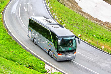 TYROL, AUSTRIA - JULY 29, 2014: German coach Setra S411HD at the Grossglockner High Alpine Road.