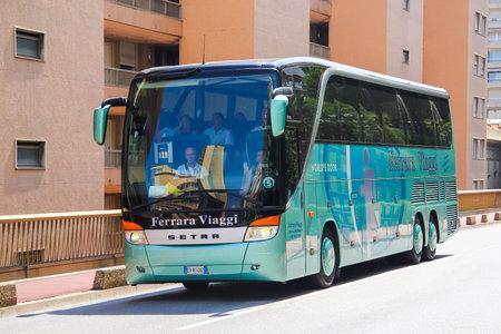 MONTE CARLO, MONACO - AUGUST 3, 2014: Modern luxury coach Setra S416HDH at the city street.