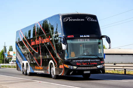 BIO-BIO, CHILE - NOVEMBER 19, 2015: Intercity coach Modasa Zeus at the interurban freeway.
