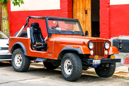 OAXACA, MEXICO - MAY 25, 2017: Motor car Jeep CJ-7 in the city street.