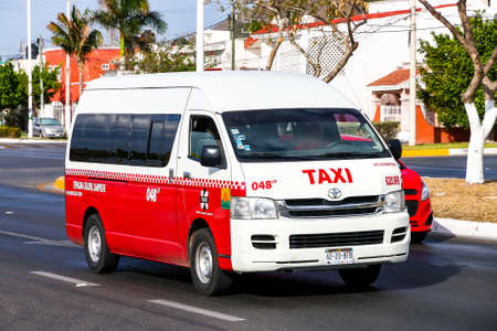 CAMPECHE, MEXICO - MAY 20, 2017: Passenger van Toyota HiAce in the city street.