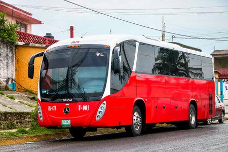 COATZACOALCOS, MEXICO - JUNE 2, 2017: Interurban coach Beccar B330 in the city street.