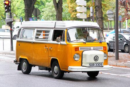 Photo for Paris, France - August 8, 2014: Passenger van Volkswagen Transporter in the city street. - Royalty Free Image