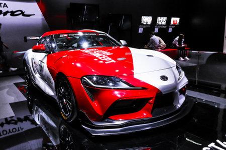 Geneva, Switzerland - March 10, 2019: Concept race car Toyota Supra GT4 presented at the annual Geneva International Motor Show 2019.