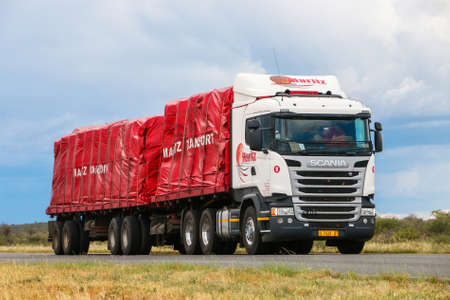 Photo for Omaheke, Namibia - February 11, 2020: Semi-trailer truck Scania R410 at the interurban road. - Royalty Free Image