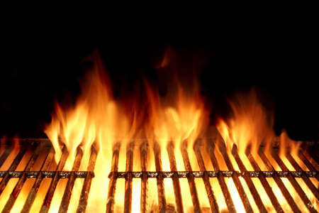 Photo for Empty Flaming Charcoal Grill  With Flames Of Fire On Black Background Closeup. Summer Outdoor Barbeque Party or Picnic Concept. - Royalty Free Image