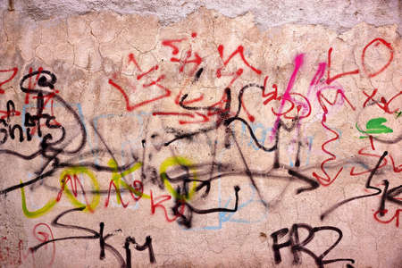 Urban Street Old Concrete Graffiti Wall With Cracked Painted Plaster