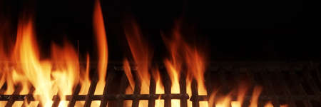 Photo pour Barbecue Fire Grill Isolated On Black Background. BBQ Flaming Charcoal Grill Isolated. Hot Barbeque Charcoal Cast Iron Grill With Bright Flames Of Fire. Abstract Panoramic Grill Wide Banner. - image libre de droit