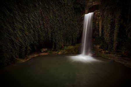 Water in motion at Tobera waterfall in Burgos
