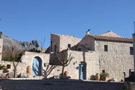 Stone houses in Town of Aeropoli in  Mani, Greece