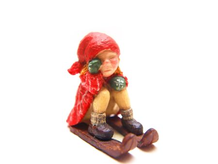 Funny looking Christmas decoration doll, porcelain and handcrafted