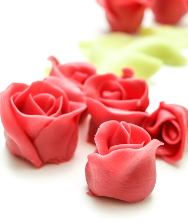 Pink marzipan roses towards white with green petals in the background
