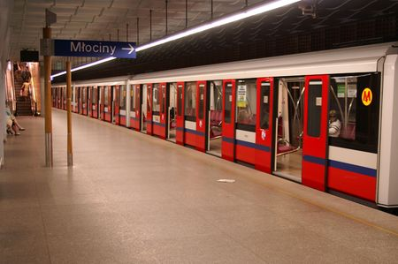 Subway arriving at station from Warsaw