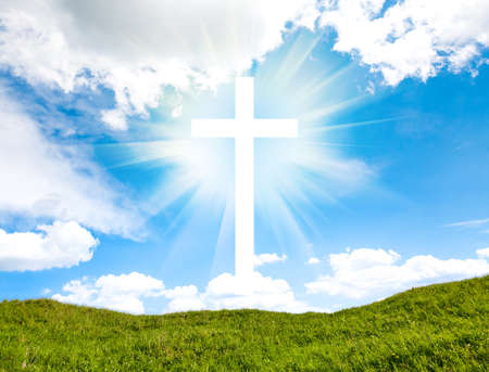 Foto de Cross on blue sky outdoor. Nature objects. Religion concept - Imagen libre de derechos