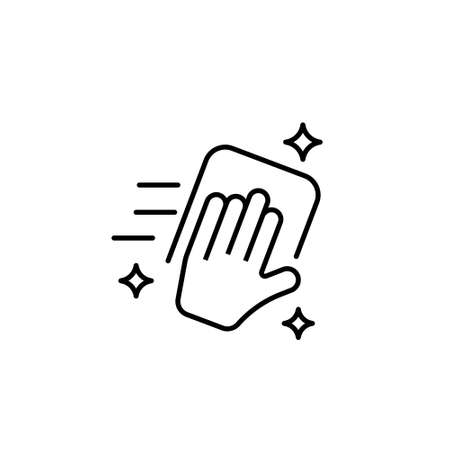 hand wiping with cloth vector icon on white background
