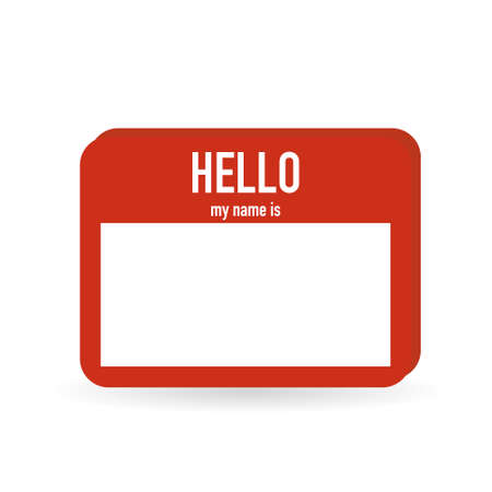 Illustration pour Hello my name is. Red tag on white background - image libre de droit