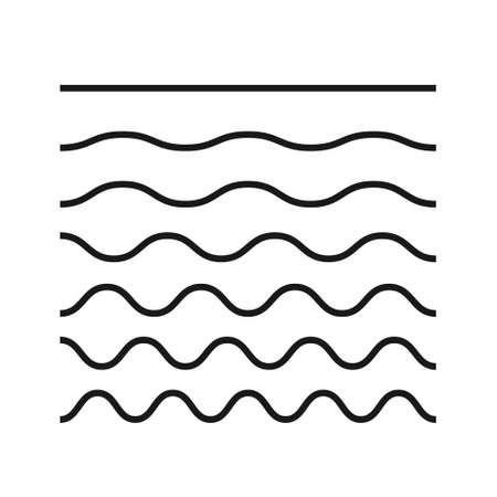 Wave line and wavy zigzag pattern lines. Vector black underlines, smooth end squiggly horizontal curvy squiggles