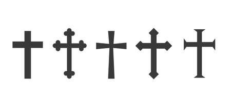 Illustration pour Set christian cross vector symbol flat and outline style - image libre de droit