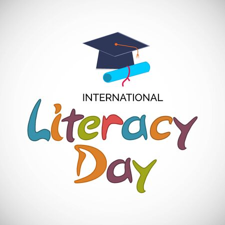 Illustration pour Vector illustration of a background or poster for International Literacy Day. - image libre de droit