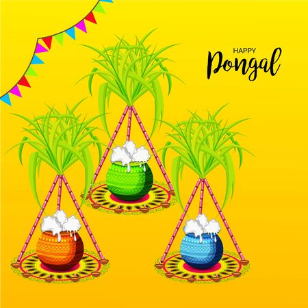 Illustration pour Vector illustration of a background or poster With colorful pots for religious traditional harvest festival Happy Pongal. - image libre de droit
