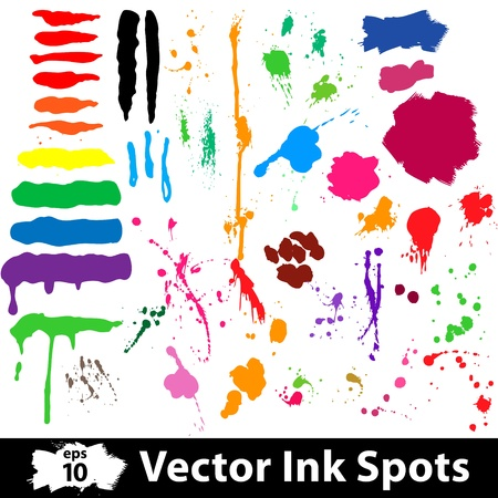 Ink and brush spots  Vector illustration