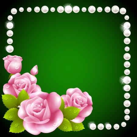 Ilustración de Pink rose and pearls frame - Imagen libre de derechos