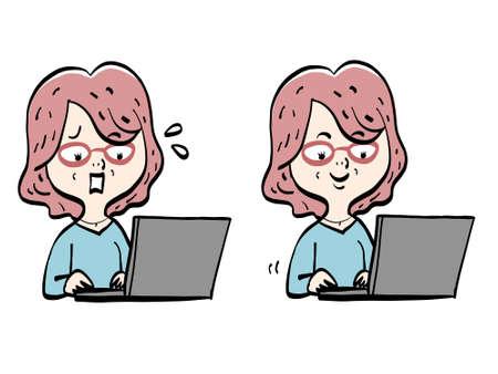 Illustration pour Senior women and computer work - image libre de droit