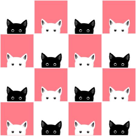 Foto für Black White Pink Cat Chess board Background Vector Illustration - Lizenzfreies Bild