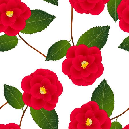 Illustration pour Red Camellia Flower on White Background. Vector Illustration. - image libre de droit