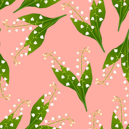 Illustration pour White Lily of the Valley on Pink Background. Vector Illustration. - image libre de droit