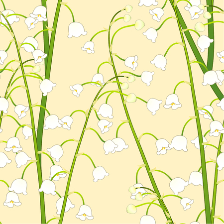 Illustration pour White Lily of the Valley on Yellow Background. Vector Illustration. - image libre de droit