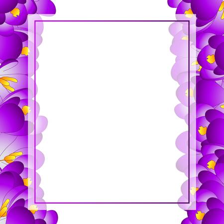 Illustration pour Purple Crocus Flower Banner Card Border. Vector Illustration. - image libre de droit