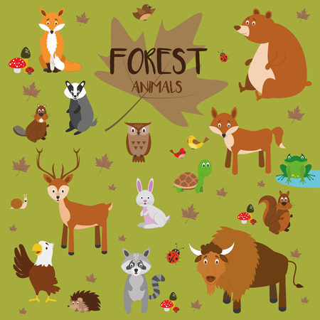 Forest animals vector set.のイラスト素材