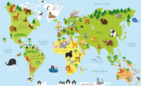 Illustration pour Funny cartoon world map with traditional animals of all the continents and oceans. Vector illustration for preschool education and kids design - image libre de droit
