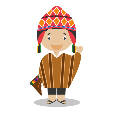 Character from Peru dressed in the traditional way Vector Illustration. Kids of the World Collection.