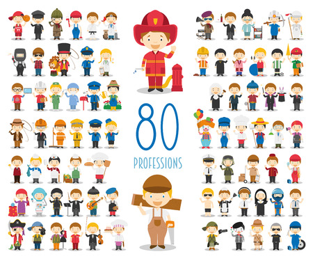 Illustration pour Kids Vector Characters Collection: Set of 80 different professions in cartoon style. - image libre de droit