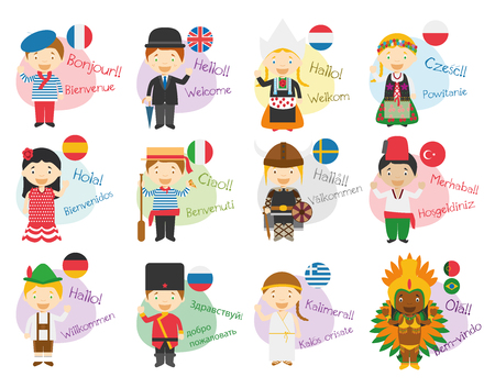 Illustration pour Vector illustration of cartoon characters saying hello and welcome in 12 different languages: Ingl?s, french, spanish, german, italian, russian, dutch, sweden, greek, polish, turkish or portuguese and brazilian. - image libre de droit
