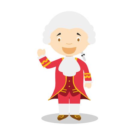 Illustration pour Wolfgang Amadeus Mozart cartoon character - image libre de droit