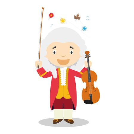 Ilustración de Antonio Vivaldi cartoon character. Vector Illustration. Kids History Collection. - Imagen libre de derechos