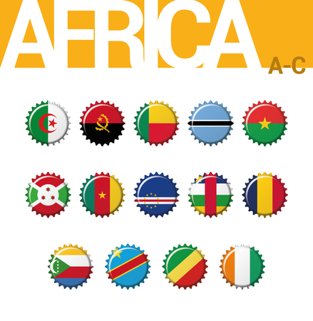 Set of 14 bottlecap flags of Africa (A-C). Set 1 of 4. Vector Illustration. Algeria, Angola, Benin, Botswana, Burkina Faso, Burundi, Cameroon, Cape Verde, Central African Rep, Chad, Comoros, Congo (Democratic Rep), Congo, Cote d´Ivoire.