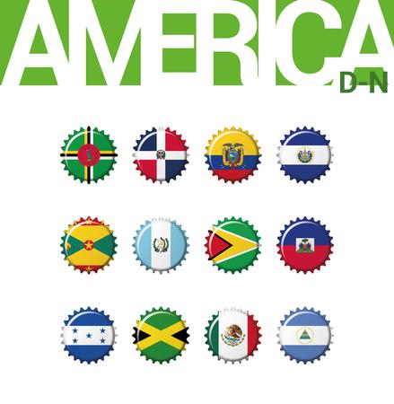 Set of 12 bottlecap flags of America (D-N). Set 2 of 3. Vector Illustration. Dominica, Dominican Rep, Ecuador, El Salvador, Grenada, Guatemala, Guyana, Haiti, Honduras, Jamaica, Mexico, Nicaragua.