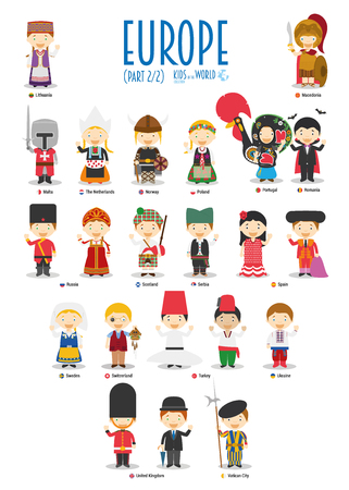 Illustration for Kids and nationalities of the world vector: Europe Set 2 of 2. Set of 22 characters dressed in different national costumes. - Royalty Free Image